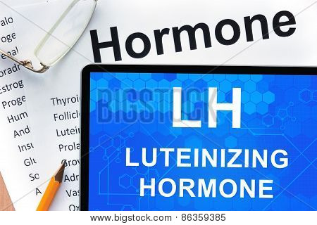 Papers with hormones list and tablet  with words  luteinizing hormone (LH).