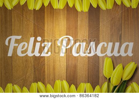 feliz pasqua against wooden surface with planks