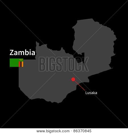 Detailed map of Zambia and capital city Lusaka with flag on black background