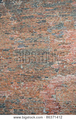Background Of Large Part Of Old Red-brown Bricks Wall.