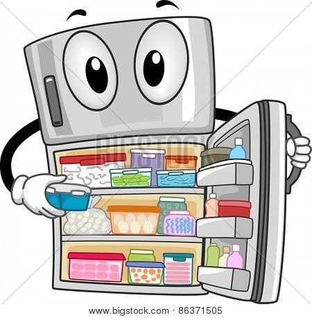 Mascot Illustration of a Fully-Stocked Refrigerator Showing Its Contents