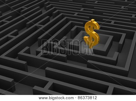 Gold Dollar Sign At Center Of Dark Maze