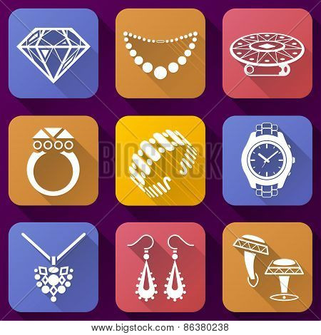 Flat Icons Set Of Jewelry Elements