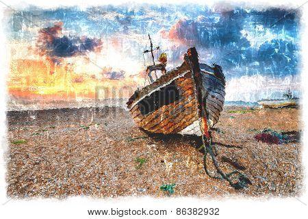 Beautiful Sunrise Over Wooden Boat