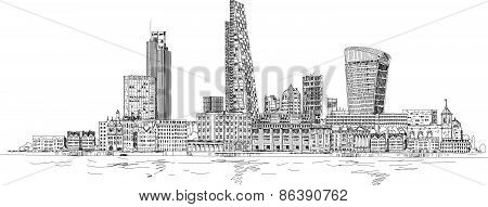 London, City view from the Thames river. Sketch collection