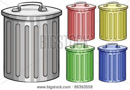 Five different color trash cans