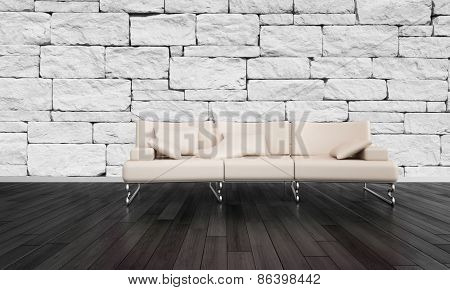 Stylish settee in a rustic room with a stone brick accented wall and dark hardwood floorboards in a minimalist living room interior.  3d Rendering