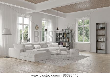 Modern loft living room interior with monochromatic white decor, a comfortable modular lounge suite and rug and accent bookcases with structural ceiling beams.  3d Rendering