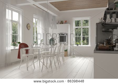 Open-plan spacious white kitchen and dining room interior in a loft with ceiling beams, bright windows and monochromatic white cabinets, table and chairs and wooden floor. 3d Rendering