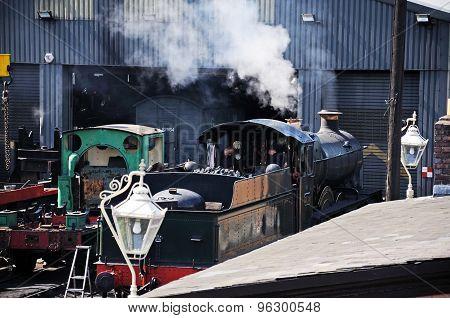 Steam train at Bridgnorth Railway Station.