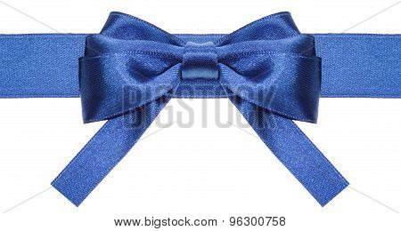 Symmetric Blue Bow With Square Cut Ends On Ribbon