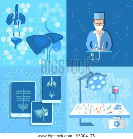 Medicine, Doctor, Human Organs, Lungs, Liver, Kidneys, Transpatologiya, An X-ray, Operating Table