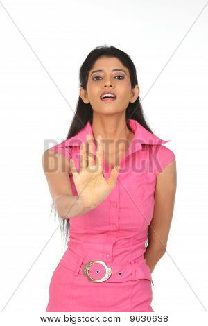 woman saying no with her hands
