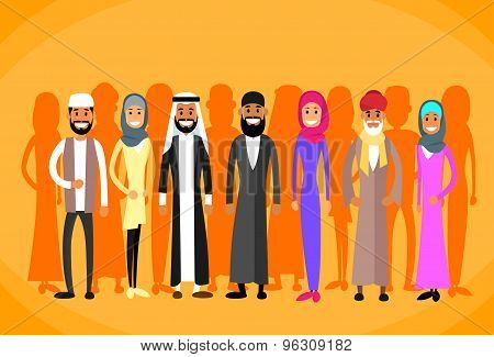 Muslim People Crown Man and Woman Traditional Clothes Arabic Indian