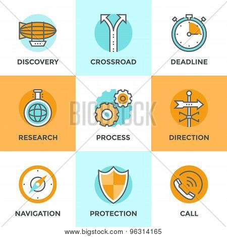Line icons set with flat design elements of various business metaphor cogwheel gear process navigation compass call answer discovery new horizon and etc. Modern vector pictogram collection concept. poster