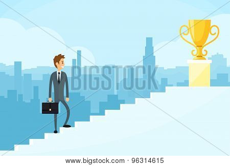 Businessman Walking Up Stairs, Concept Business Man Win Price