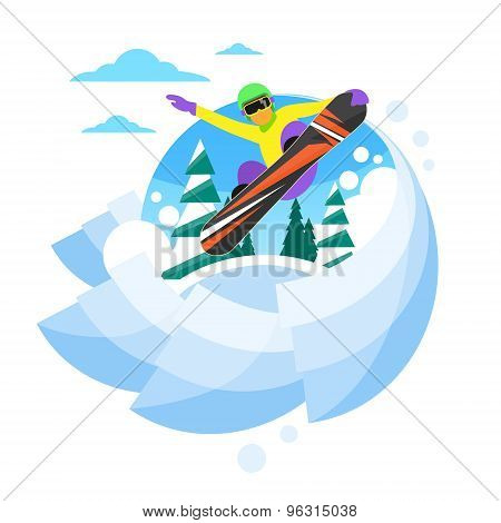Snowboarder Sliding Down Hill, Man Snowboarding Snow