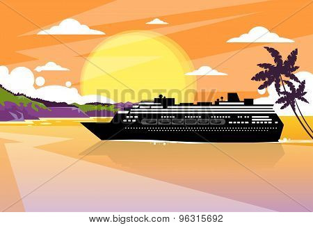 Cruise Ship Liner Tropical Island Sunset Orange Sky Summer