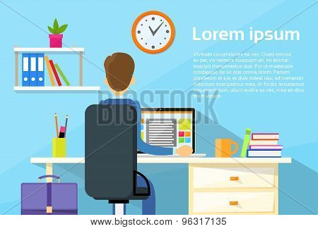 Business Man Sitting Desk Office Working Place Laptop