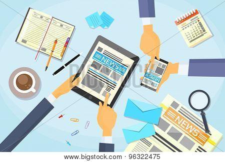 Business People Read Newspaper, Hands Tablet Smart Phone News Paper