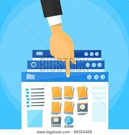 Multitasking Interface Choose Window Hand Finger List Online Folders