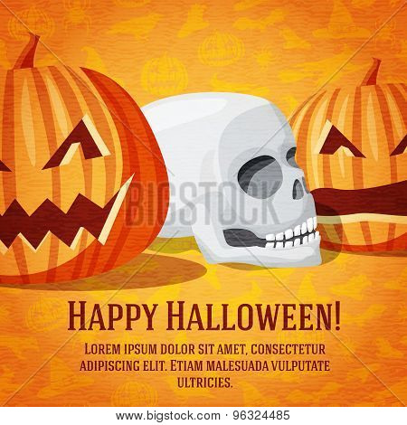 Happy halloween greeting card with carved pumpkins and human skull fading to the perspective.