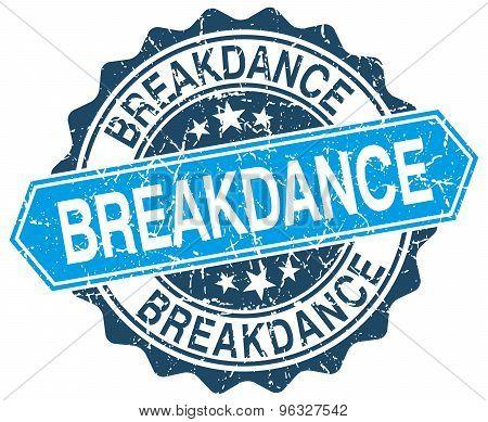 Breakdance Blue Round Grunge Stamp On White