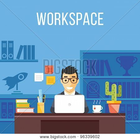 Man at work. Man in suit in office room. Creative flat design interior, workplace, workspace concept