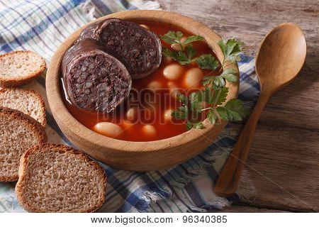 Delicious Bean Soup Fabada Asturiana Closeup Horizontal