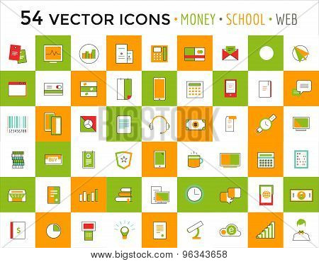 Vector objects icons set. Business or School and Money symbols. Stock design elements