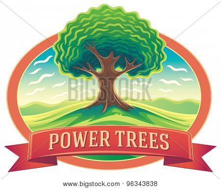 Vector tree in frame and tape design with the words. Nature landscape with tree.
