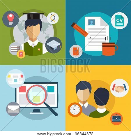 New Job Search. infographic. Labor, Office, Loupe and Professions. Vector stocks illustration for de