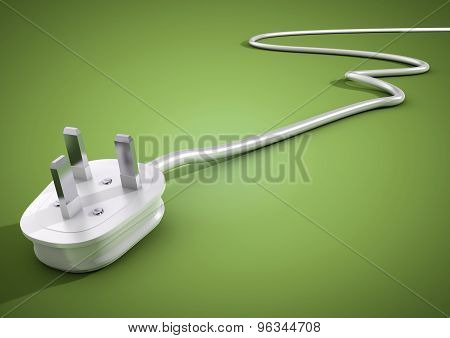 Electrical Plug And Cable Lies Unplugged Isolates On Green Background