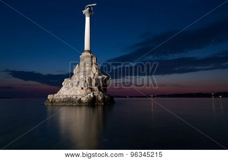 Monument To The Scuttled Warships In Sevastopol At Night, Crimea