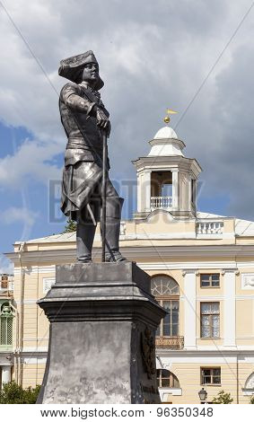 Pavlovsk. Monument to Emperor Paul I on the background of the Grand Palace.