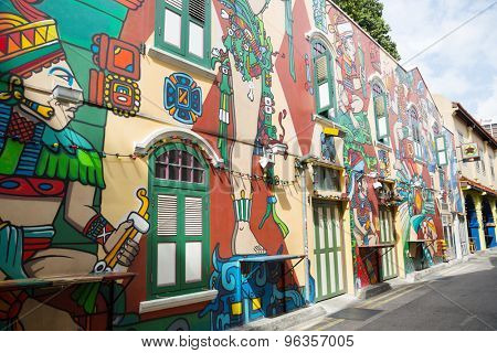 SINGAPORE - CIRCA FEBRUARY, 2015: Graffiti on the walls of old buildings Haji Lane. Haji Lane is the Kampong Glam (Arab Quarter) neighbourhood famous for its cafes, restaurants and shops.