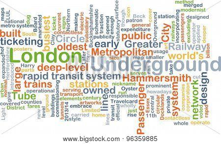 Background concept wordcloud illustration of London underground