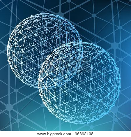 Abstract  Mesh polygonal background. Scope of lines and dots. Ball of the lines connected to points.