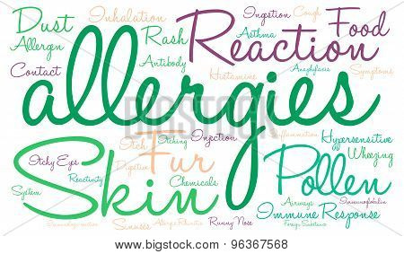 Allergies word cloud on a white background. poster