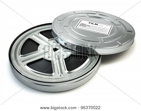 Film reel and box. Video, movie, cinema vintage concept. 3d