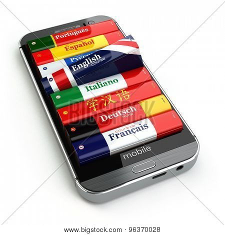 E-learning. Mobile dictionary. Learning languages online. 3d