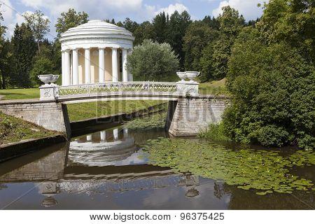 Pavlovsk. View of the bridge and cast iron Pavilion Temple of Friendship.