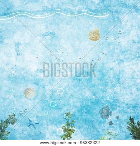 Abtract grungy marine backgrounds with underwater plants and fish