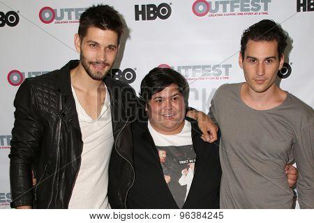 LOS ANGELES - JUL 17:  Ryan Ward, Harvey Guillen, John Garet Stoker at the