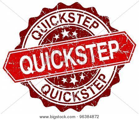 Quickstep Red Round Grunge Stamp On White