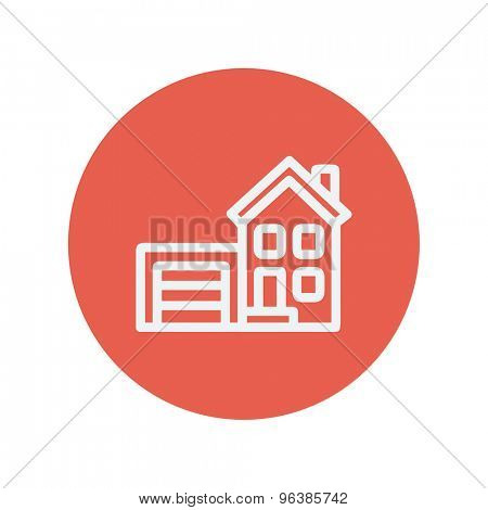 Home with garage thin line icon for web and mobile minimalistic flat design. Vector white icon inside the red circle.