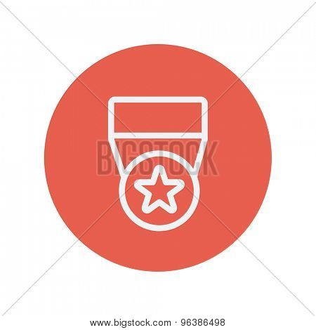 One star medal thin line icon for web and mobile minimalistic flat design. Vector white icon inside the red circle.