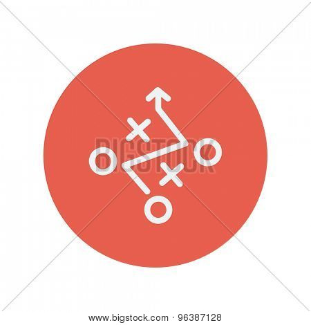 Tic-tac-toe game thin line icon for web and mobile minimalistic flat design. Vector white icon inside the red circle.