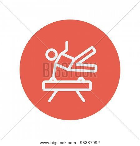 Gymnast on pommel horse thin line icon for web and mobile minimalistic flat design. Vector white icon inside the red circle.