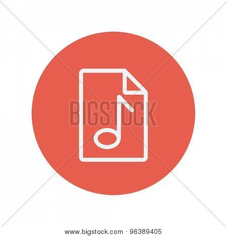 Origami musical note in a paper thin line icon for web and mobile minimalistic flat design. Vector white icon inside the red circle